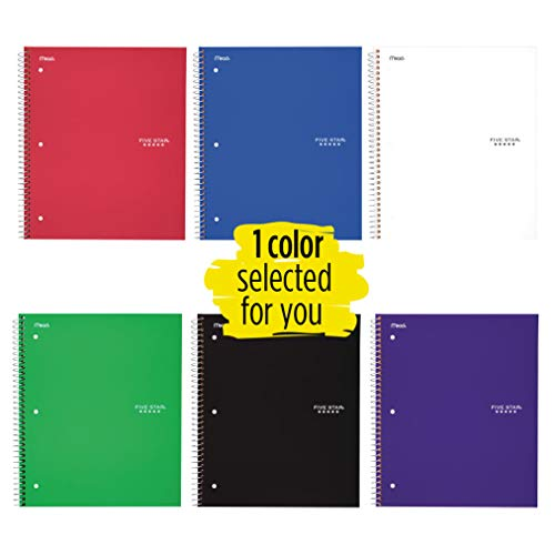 Five Star Spiral Notebook, 1 Subject, Wide Ruled Paper, 100 Sheets, 10-1/2 inches x 8 inches, Color Selected For You, 1 Count (05200)