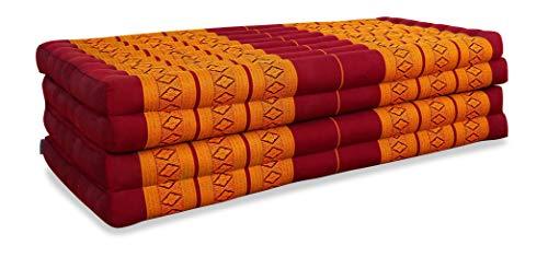 livasia Klappmatratze extrabreit (195cm x 110cm) aus Kapok, Faltbare Gästematratze, klappbare Matratze, asiatische Faltmatratze (rot/gelb)