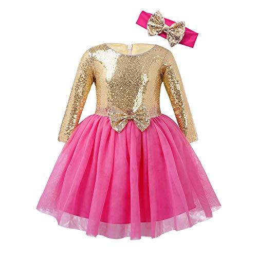 IEFIEL Vestido Princesa Mangas Largas para Niñas Vestido Lentejuelas NiñaTutú Princesa con Diadema Bowknot Brillantes Vestido Elegante de Dama de Honor Dorado&Rosa 3-4 años