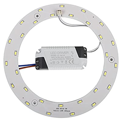Ledytech 15w 5730 SMD Led Panel Ceiling Light Fixtures Circle Annular Round Replacement Board Bulb (White 6000-6500K)
