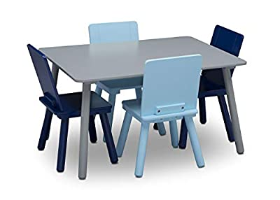 Delta Children Kids Table and Chair Set (4 Chairs Included) - Ideal for Arts & Crafts, Snack Time, Homeschooling, Homework & More, Grey/Blue from Delta Enterprise Corp - PLA
