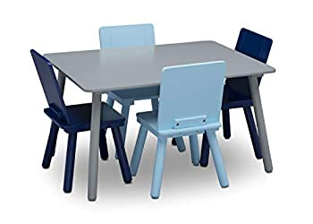 Delta Children Kids Table and Chair Set  4 Chairs Included  - Ideal for Arts & Crafts Snack Time Homeschooling Homework & More Grey/Blue