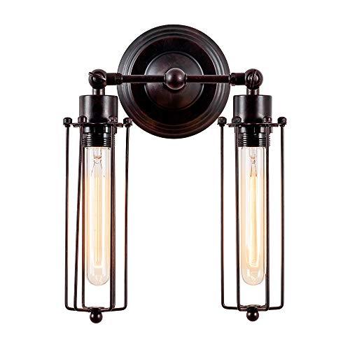 LULING Lámpara de pared industrial, estilo vintage, regulable, con jaula de metal...