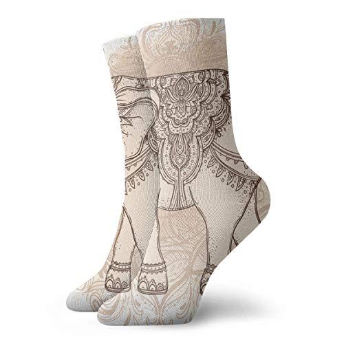Wunderschöne, handgezeichnete Kompressionsstrümpfe im Tribal-Stil, Elefanten-Tattoo, Vintage-Stil, 30 cm lang, Crew-Socken für Männer und Frauen