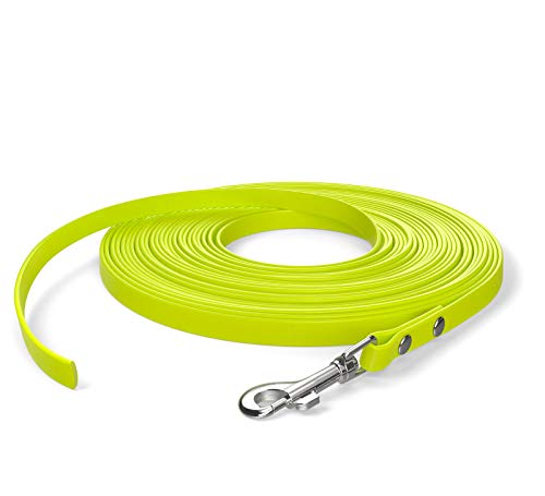 SNOOT 10m de Cable de Remolque, Correa para Perro, 1 mosquetón, Amarillo neón, Extra Estrecho, Repelente de Suciedad y Agua.