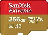 Carte Mémoire microSDXC SanDisk Extreme 256 Go + Adaptateur SD avec Performances Applicatives A2 jusqu'à 160 Mo/s, Classe 10, U3, V30