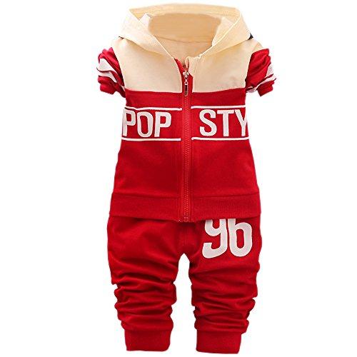 KINDOYO Baby Boys and Girls Maillots de Sport + Pantalons (80, Rouge)