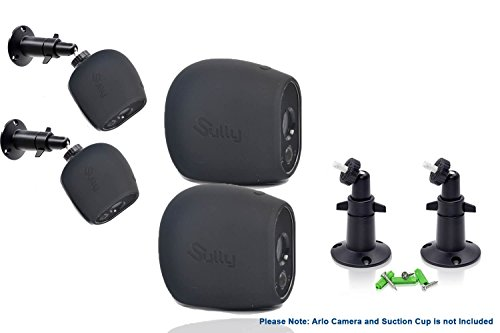 Accessories Kit for Arlo HD Camera w/ (2pcs Black) Arlo HD Skins and (2pcs) 10cm Arlo Camera Mount Black Arlo Netgear Security Wireless Silicone Covers Skins Case Outdoors Wall Mounts by Sully