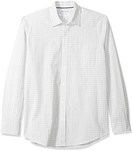Amazon Essentials – Camisa informal de popelín de manga larga de corte recto estándar para hombre, Gray Check, US S (EU S)