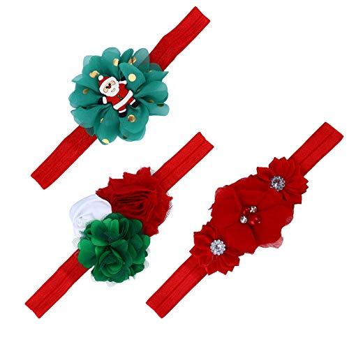 Lurrose 3 diademas florales para bebé y niña, de tela de Papá Noel, para niñas recién nacidos, niños pequeños, accesorios para el pelo, color rojo