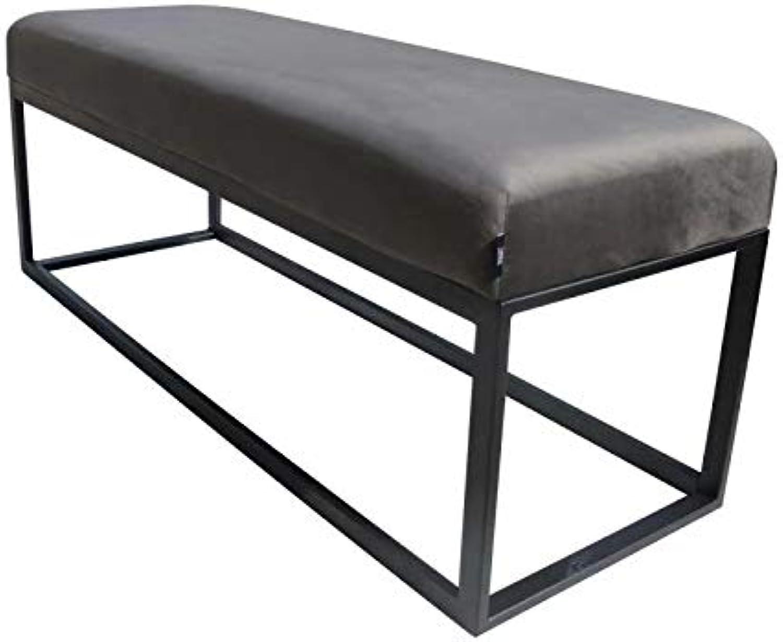 Damiware Couchy Sitzbnke  Esszimmer, Küche, Wohnzimmer  Mikrofaser Leder und Metallbeine (Samt Grau)