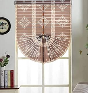 Korean Fan-Shaped Shutter Blinds,Wide uv Protection Soft Curtain Horizontal Blinds Blinds Bedroom Guest Rome Curtain Hall Customization-Brown 58x162cm(23x64inch)