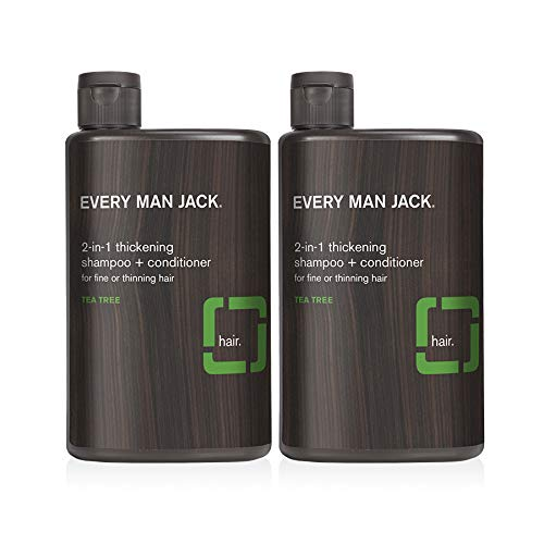 Every Man Jack 2-in-1 Thickening Shampoo + Conditioner - Tea Tree | 12-ounce Twin Pack - 2 Bottles Included | Naturally Derived, Parabens-free, Pthalate-free, Dye-free, and Certified Cruelty Free