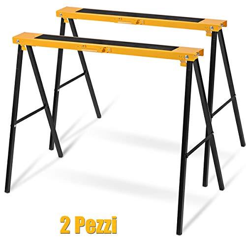 GOPLUS Set di 2 Cavalletti Pieghevoli in Metallo Cavalletto da Lavoro Portatile Carico 275 kg