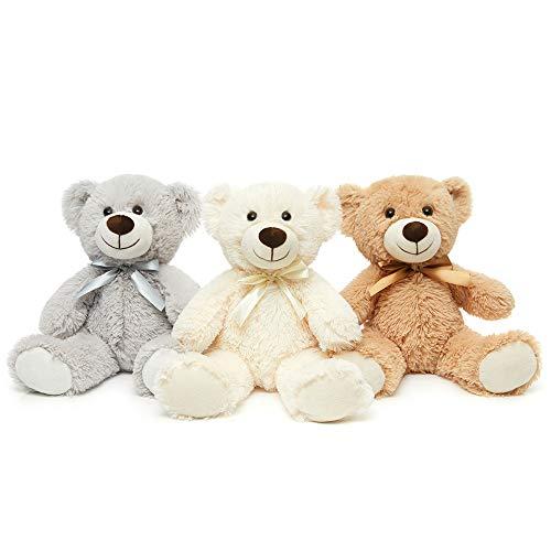 MaoGoLan Teddy Bear Stuffed Animals Plush Toys 3-Pack of Stuffed Bears 3 Colors White/Grey/Tan 13.5...