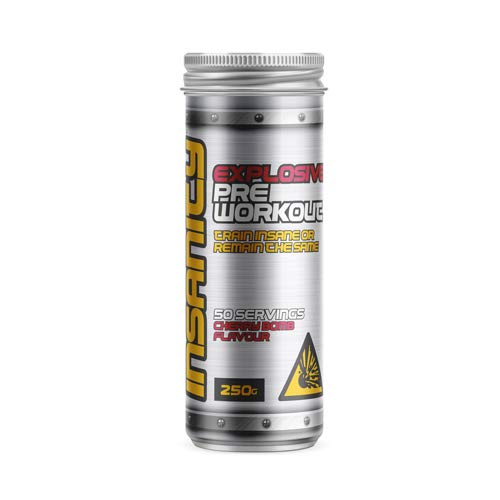 Biosynergy Insanity 50 Servings Cherry Bomb Flavour Vegan PreWorkout Powder 250g