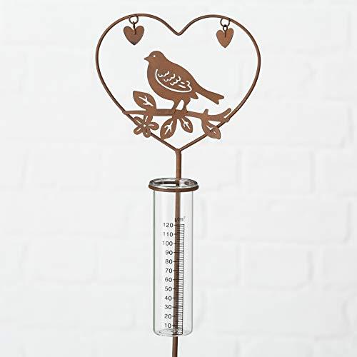 Boltze Gartenstecker Regenmesser Vogel mit Herz oder Zwei Herzen (Vogel im Herz)