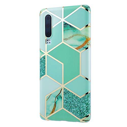 wonfurd [Tiere Schmetterling Marmor Muster Transparent] kompatibel mit Huawei P30 Hülle (6.1 Zoll) Süße Zeichnung weichem TPU mit Panzerglas Schutzfolie Huawei P30 case Blumen Garten-4