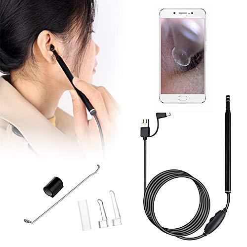Endoscopio de oreja 5.5 mm KKmoon Endoscopio de otoscopio visual 3 en 1 con con 6 LED Cámara de endoscopio para Limpieza de oídos herramienta de limpieza del oído ajustables