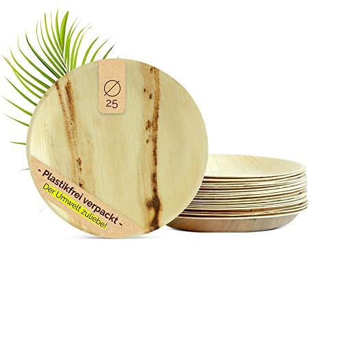 The Green Matter 25 Bio Einwegteller aus Palmblatt, rund, Ø 25 cm, extra stabil, kompostierbar und biologisch abbaubar, Bio Partyteller, Bio Palmblattgeschirr, Partygeschirr, Bio Einweggeschirr