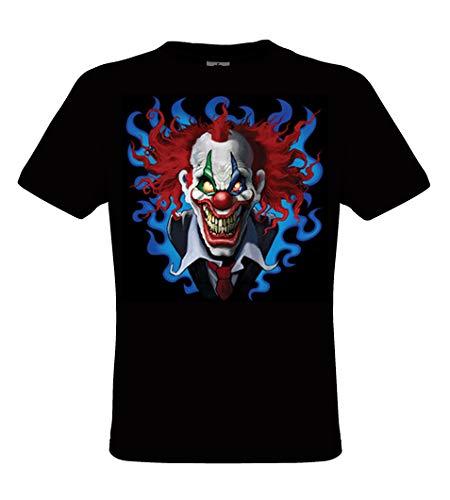 DarkArt-Designs Lifestyle T-Shirt Crazy Clown - Clown T-shirt pour messieurs - motif de plaisir regular fit, Noir, L