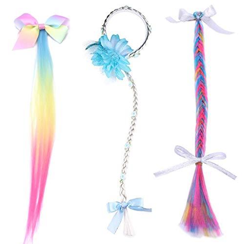 Rapunzel - perücke Mädchen haarband,Amycute 3 pcs Kinder Zopfgummi für Prinzessinen mit langem Flechtzopf, Glitzersteinen und Textil-Blumen, für Rapunzel Kostüm.