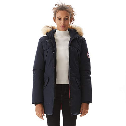 PUREMSX Women's Winter Insulated Padded Anorak Jacket Stylish Extremely Thick Faux Fur Slim Down Alternative Parka Windproof Waterproof Warm Overcoat for Cold Weather Outdoor Sports,Navy,XX-Large