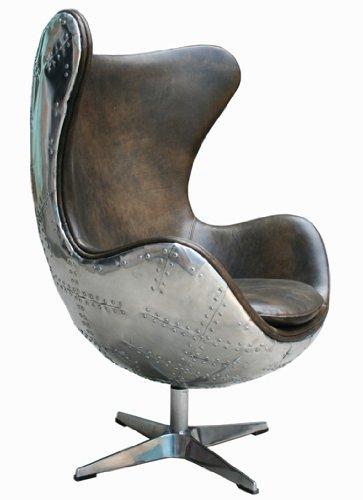 Schalensessel Agent Light Java Vintage Leder, Aluminium Echtleder Sessel