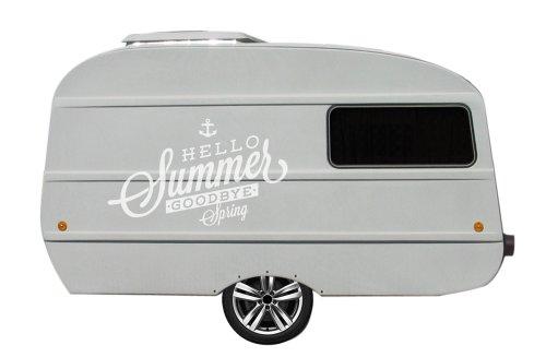 Wohnwagen Aufkleber für QEK Junior XXL Version Spruch Hello Summer Goodbye Spring (weiss matt)