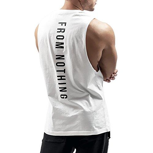 Sixlab West Cut Off Tank Top Herren Muskelshirt Gym Fitness (M, Weiß)