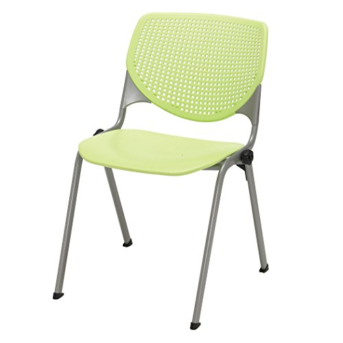 KFI Seating Kool Series Polypropylene Stack Chair with Perforated Back, Lime Green Finish