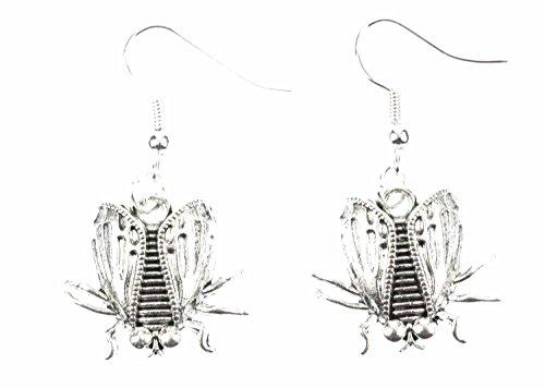 Miniblings Fliegen Ohrringe Fliege Schmeißfliege Insekt Halloween silb - Handmade Modeschmuck I Ohrhänger Ohrschmuck versilbert