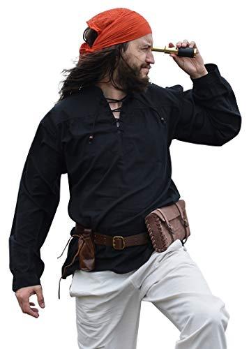 Battle-Merchant - Camisa Medieval para Hombre - Ideal para Larp Vikingo - Negro - XL