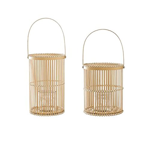 Bloomingville Windlicht Rattan 2er Set