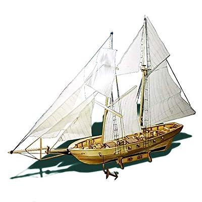 Leepesx Maquette de bateau bricolage Kits de modèles de bateaux à voile en bois, modèle de décoration pour enfants adultes