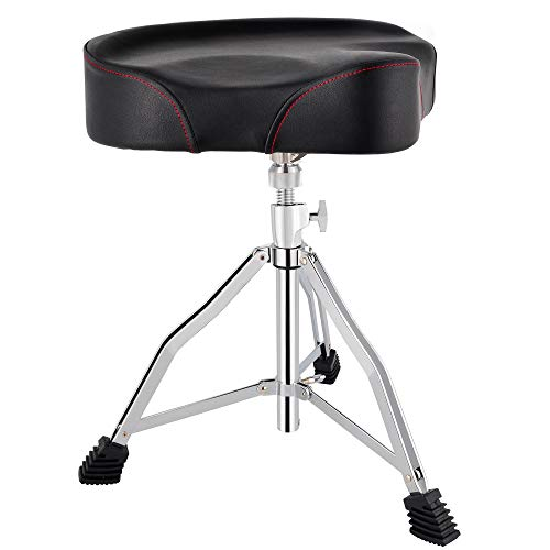 ROWELL Drum Throne Universal Upgraded,Padded Drum Seat Portable Height Adjustable drumming Stools with Anti-Slip Feet for Adults and Kids Black (Black)