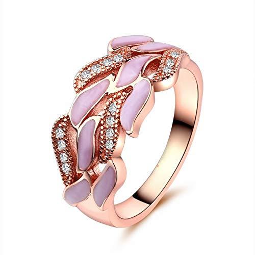 Thumby-ring Vrouwelijke Zoete Stijl Party Zirkoon Plant Platte Ring Creatieve Epoxy Diamant Kersenbloesem Ring Europese en Amerikaanse Mode Gepersonaliseerde Sieraden Ring