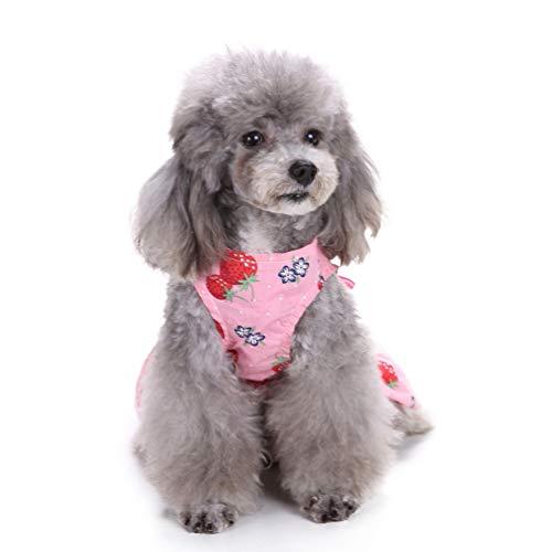 Balacoo Navidad Disfraz de Perro de Halloween Bowknot Fresa Verano Mascota Vestido de Perro Ropa sin Mangas Falda de Perrito Talla XS