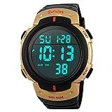 Reloj de pulsera deportivo SunJas, resistente al agua 50m, alarma, calendario, para hombre,...