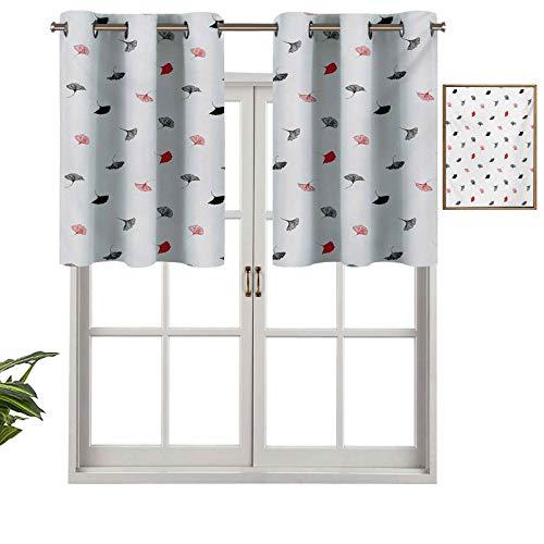 Cenefa de cortina para interior y hogar, diseño de hojas de ginkgo rojas y negras dispersas sobre fondo blanco con estilo minimalista, juego de 2, 137 x 60 cm para baño y cafetería.