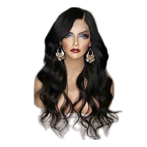 26 inch lange golvende Natural Pruiken, Hoge Temperatuur Fiber zwart, bruin, paars, wijn rode pruik for vrouwen (Color : Black)