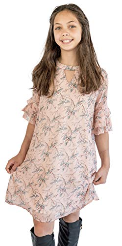 Smukke, Big Girls Tween Beautiful Floral Printed Tiered Ruffle Fully Lined Short Elbow Sleeves Dress(with Options), 7-16 (Pink, 14)
