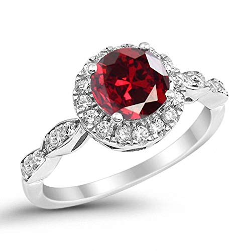 Blue Apple Co. Art Deco Design Engagement Ring Rond Simulated Ruby 925 Sterling Silver, Size-7
