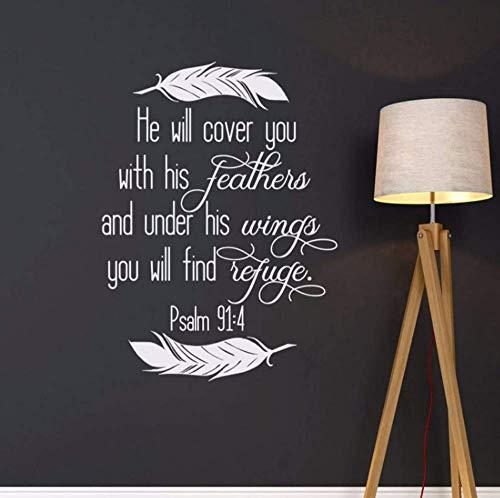 Er Wird Dich Mit Seinen Federn Bedecken Psalm 91: 4 Schrift Wandtattoo - Christliches Wandtattoo - Religiöser Bibelvers Wanddekor Qu14 57 * 77Cm