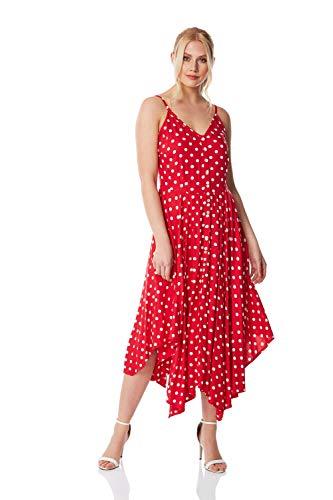 Roman Originals Vestido midi con dobladillo de lunares para mujer, para verano,...