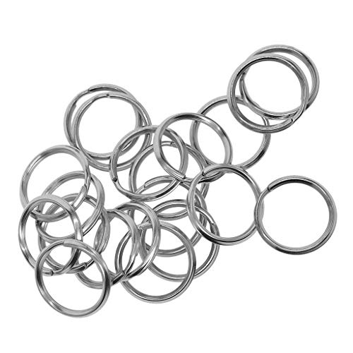 Fenteer 40 Stücke 20mm 304 Edelstahl Split Schlüsselanhänger Keycahins Hundeleine DIY