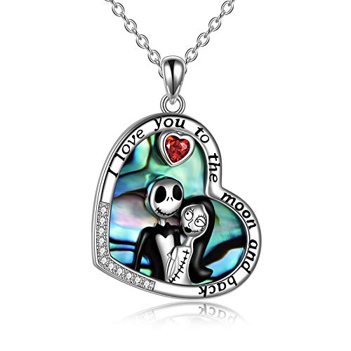 Nightmare Before Christmas Necklace Sterling Silver Jack Skellington and Sally Abalone Shell Necklace I Love You To the Moon and Back Skull Jewelry Birthday Gifts for Women Girlfriend Couple