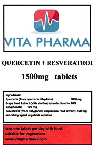 QUERCETIN and RESVERATROL Combo, 30 Tablets, 1 Months Supply, take one a Day, by VITA PHARMA, Produced here in The UK