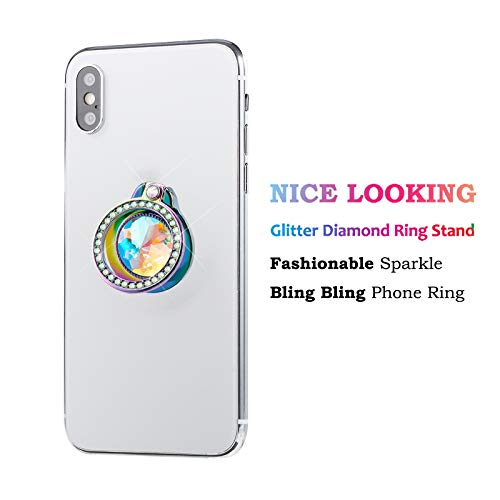 lenoup Iridescent Glitter Bling Bling Phone Ring Holder,Rainbow Sparkle Phone Ring Artificial Diamond Stand,Teal Rhinestone Cell Phone Finger Ring