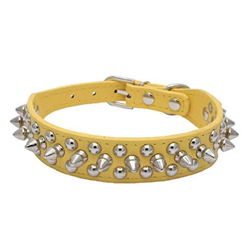 WEIYYY Verstellbares Leder Haustier Hundehalsband Halsband Zubehör PU Leder Punk Niet Stachel Hundehalsband Haustier Halsbänder Für kleine Hunde Katze, gelb, xs